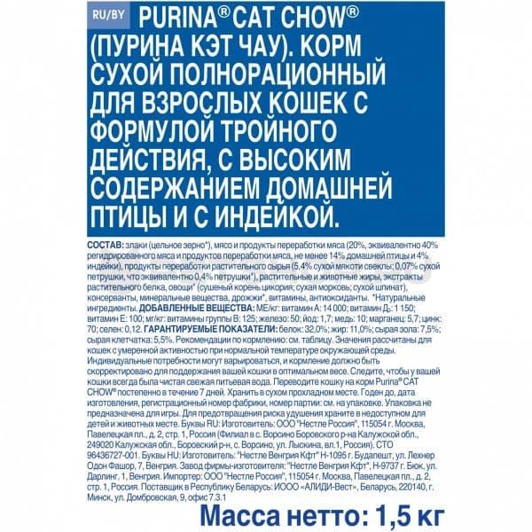 PURINA CAT CHOW для кошек состав